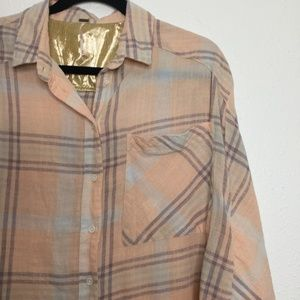 Free People Tops - Free People Plaid Button Down Long Sleeve Size M